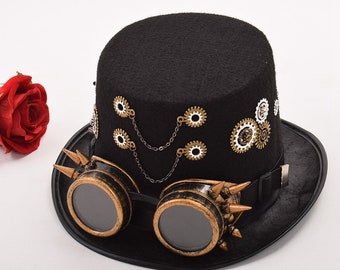 Vintage Victorian Steampunk Hat Gear Glasses Gothic Hat Cosplay accessories Steampunk accessories