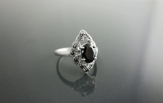 Black Diamond Marcasite Ring, Sterling Silver, Vintage Marquise Ring, Lab Black Diamond Simulant, Retro Black Stone Rings, Women's Gifts