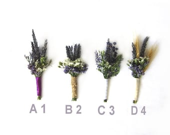 """Organic Dried Lavender Boutonniere - Goomsman - Gooms Bestman """" Your Choice""""  One Each. MADE TO ORDER!"""