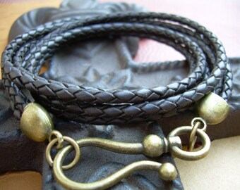 Brown Braided Leather Wrap Bracelet, Wrap Bracelet, Leather Bracelet, Bracelet, Jewelry, Gift,  Womens, Mens