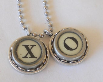 Typewriter Key Necklace, XO, Vintage, Hugs and Kisses, Valentine's Day Gift
