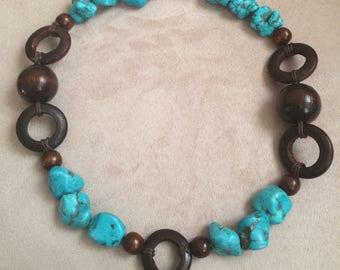 Large Wood Bead and Turquoise Stone