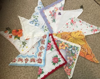 Collection of 10 vintage hankies / handkerchiefs in assorted colors, styles, and sizes. #932