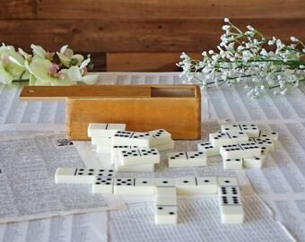 Mid century dominoes set Wooden box