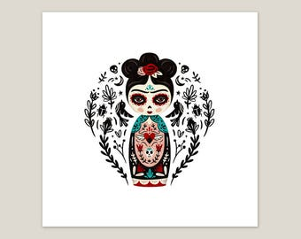 Fierce Like Frida Doll - Art Print 8x8