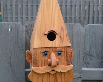 Male Gnome Birdhouse with Flush Mount Hardware, Gnome Cedar Birdhouse, Wooden Birdhouse, Yard Decor, Gnome decor, garden gnome, tree bird
