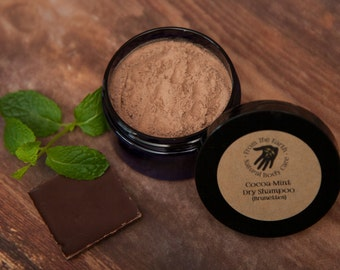 Cocoa Mint Dry Shampoo (Brunettes) - other scents available! - all natural, organic hair care, dry shampoo for dark hair or dark blonde hair