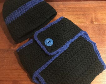 Thin Blue Line diaper set with hat