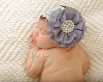 Gray lace headband, newborn lace headbands, infant lace headband, girl lace headband, baby headband, girls headband, lace headbands