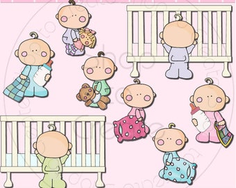 Bedtime Babies SEMI-EXCLUSIVE Clipart Collection - Immediate Download