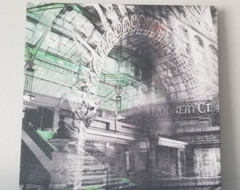 """Chicago 13"""" Canvas Wall Art - Rookery Building Photo Collage"""