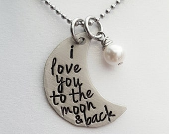 JBK I Love You To The Moon & Back custom hand stamped necklace