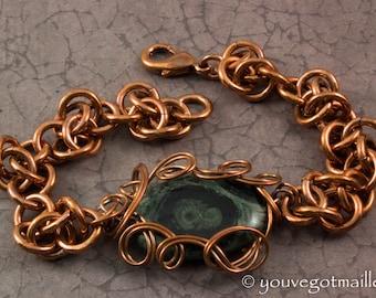 Kambaba Jasper Copper Chainmaille Bracelet
