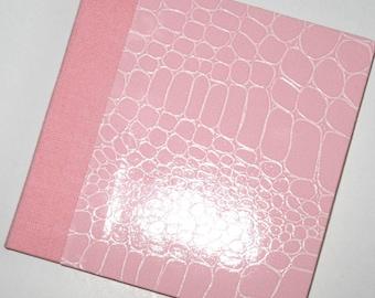 Pink Crocodile Mini Blank Book - Handmade Journal - Mini Sketch Book