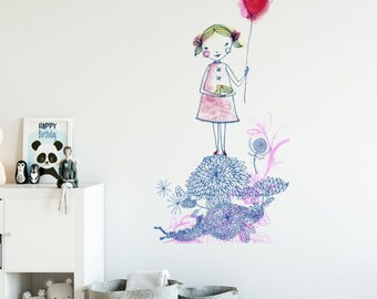 Red Balloon Girl Removable Wall Sticker