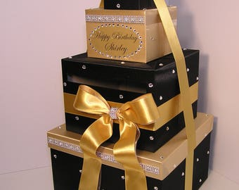 Quinceañera / Sweet 16 / Birthday /Wedding Card Box Black and Gold Gift Card Box Money Box  Holder--Customize in your color-Custom Made
