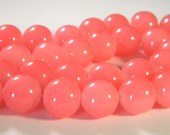 "10 pearls light glass - 12 mm - way ""jade"" - pink - PE230"