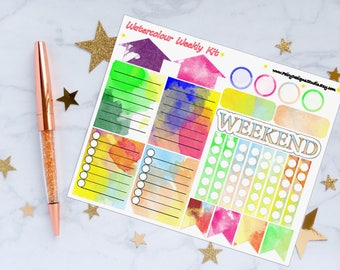 Watercolour Weekly Kit Planner Stickers, Weekly Kit Stickers, Watercolour Stickers, Vinyl Stickers