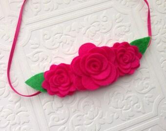 I Felt For You Hot Pink Flower Trio Headband or Hair Clip