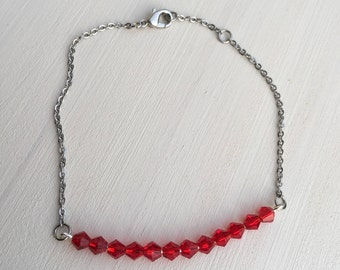Silver Chain Beaded Bar Bracelet