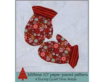 Mittens Paper Pieced Pattern
