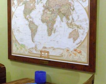 Anniversary Framed Push Pin World Map