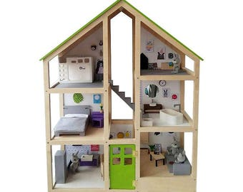 A large three-story modern doll house/dollhouse