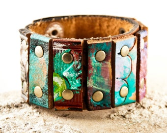 2018 Turquoise Jewelry Leather Cuff Bracelet Women Multi Color Jewellery Sale