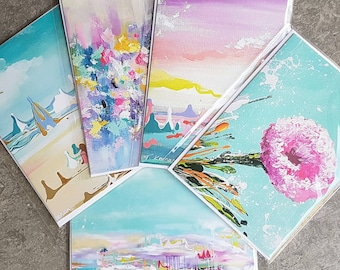 5 pack greeting cards, floral cards, art cards x 5