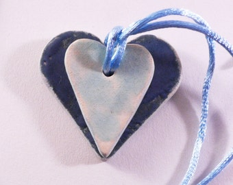 Blue hearts necklace, heart necklace, ceramic pendant, handmade ceramic, handmade jewelry, pendant jewelry, wedding favor, wedding necklace