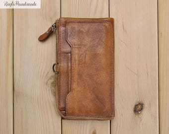 Handmade Leather Clutch,Leather Wallet, Long Wallet,Purse Organizer,Zippered Wallet, Women Wallet, Change Purse, Zipper Pouch