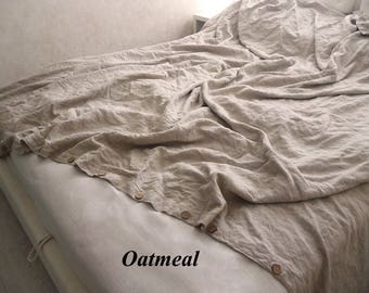 Linen Duvet Cover Buttons Closure Linen bedding 100% flax seams only on the sides queen king full twin custom size Organic