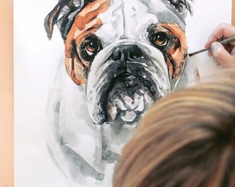 "Custom dog painting, 15"" X 20"" custom pet portrait, original watercolor painting, dog painting, dog art, unique gift/present"