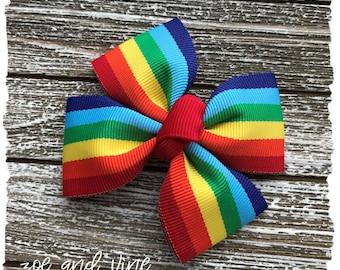 READY TO SHIP, Infant Baby Toddler Girls Large Pinwheel Hair Bow, Rainbow