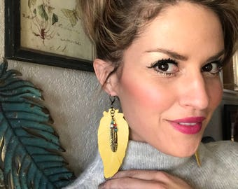 Yellow leather, feather earrings