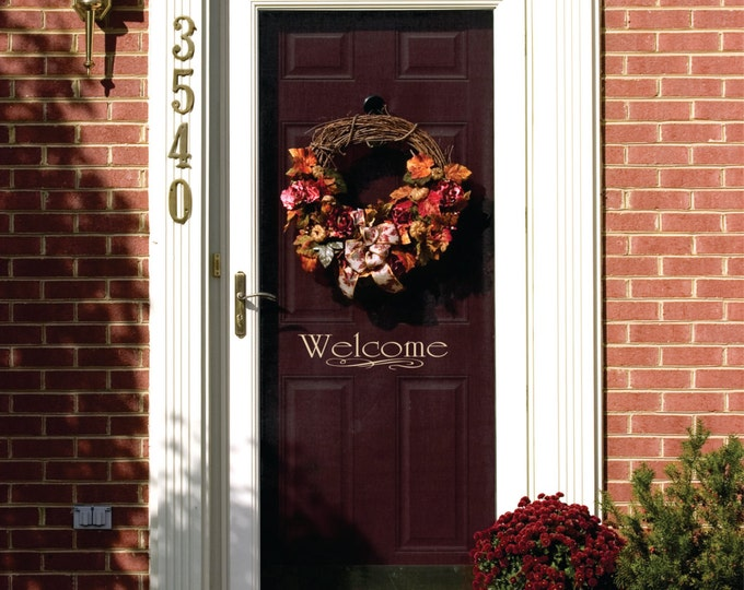 Welcome Door Decal -Small Decal -  Name Wall Decal - Welcome Vinyl Lettering for Door - Front Door Decals