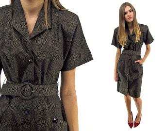 Vintage 80s Abstract Dress, Shirt-Waist Dress, 80s Gold Dust Dress ΔΔ sm