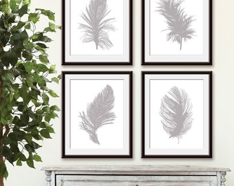 Feathers (Series A4) Set of 4 - Art Prints (Featured in Silver Cloud on white) Feather Wall Art