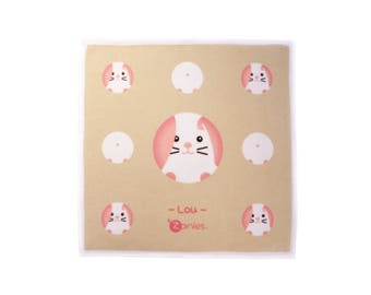 Pink and White Rabbit Square Hand Towel