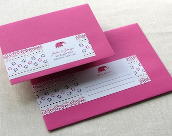 Wrap Around Label - Indian Elephant Jaipur Floral Return Address - Self Adhesive