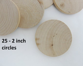 """25 Wood 2 inch Circles, wood disc, wooden disk 2"""" x 1/4"""" thick unfinished DIY"""