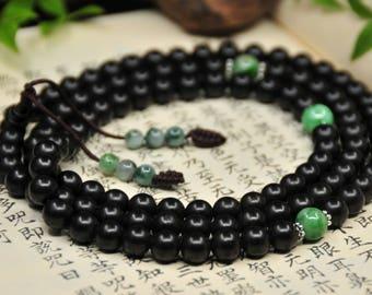 Mala of Agilawood and Jadeite (沉香·翡翠 念珠) -108 Mala Beads -Japa Mala -Prayer Beads -Yoga -Meditation -Mantra -Awakening -Energy