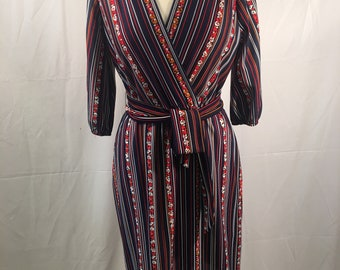 Vintage Lady Carol 1970s Polyester Knit Dress (Med)