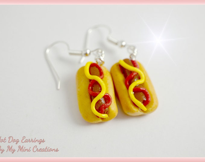 Hotdog with Ketchup and Mustard Earrings , Miniature food, Miniature Food Jewelry, Food Jewelry