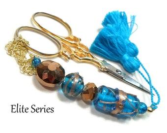 Azure Blue Scissor Fob, Beaded Key Fob, Bronze, Needlepoint, Quilting, Sewing Accessory, Cross Stitch, Scissor Minder, Purse Dangle