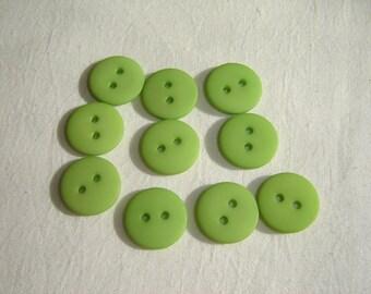 10 green resin buttons / / 15 mm