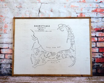 Vintage Inspired Cape Cod Map Wall Hanging