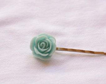Aqua Blue Rose Hairpin, Rose Flower Hairpin, Resin Flower Hairpin, Ready to Ship