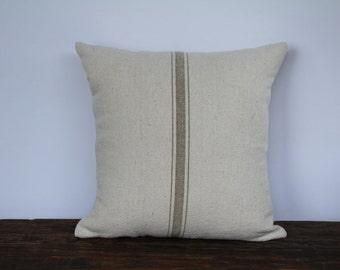 Grain Sack Pillow Cover, Farmhouse Pillow Cover, French Pillow Cover, Decorative Pillow Cover, Custom Couch Pillow, TAN STRIPE