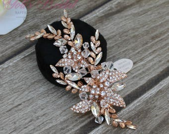 FAST SHIPPING!!! Rose Gold Bridal Hair Comb, Wedding Hair Comb, Crystal Hair Comb, Swarovski Hair Comb, Headpiece, Crystal Headpiece
